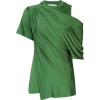 Monse Blusa De Cetim Drapeada - Verde