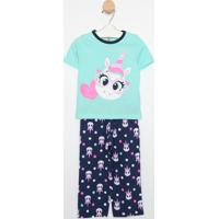Pijama Unicórnio - Verde Água & Rosapuket