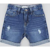 Bermuda Jeans Infantil Destroyed Azul Médio