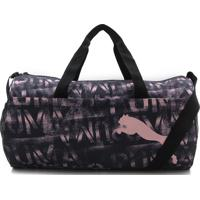 Bolsa Puma At Ess Barrel Bag Preta/Rosa