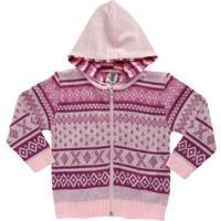 Casaco Aberto Infantil Para Menina Bebê - Rosa