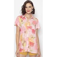 Camisa Floral- Rosa & Vermelha- Cotton Colors Extracotton Colors Extra