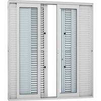 Porta Balcão De Correr Multiflex Alumínio - 6 Folhas - Branco Aluminium 216X200X17,5Cm - 74622119 - Sasazaki - Sasazaki