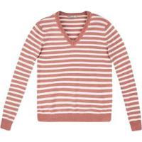 Blusa Tricô Hering Básico Listrado Feminina - Feminino-Rosa Claro