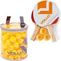 Kit Tênis De Mesa Vollo 2 Raquetes Com 100 Bolas Table Tennis - Unissex