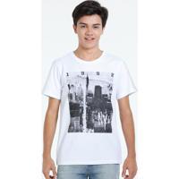 Camiseta Juvenil Manga Curta Estampa Cidade Marisa
