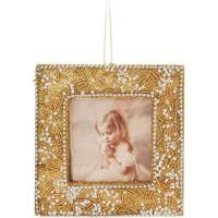 Enfeite De Porta Retrato Com Brilho- Dourado & Branco