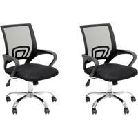 Conjunto Com 2 Cadeiras De Escritório Secretária Java Ii Preto