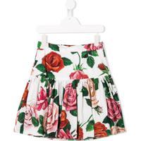 Dolce & Gabbana Kids Saia Com Estampa De Rosa - Branco