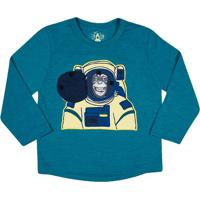Camiseta Macaco Astronauta- Verde ÁGua & Amarelatip Top