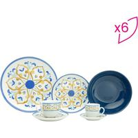 Aparelho De Jantar Mayolica- Branco & Azul Marinho- Rojemac