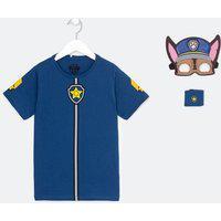Camiseta Infantil Estampa Patrulha Canina Com Máscara E Braceletes - Tam 2 A 5 Anos | Paw Patrol | Azul | 02