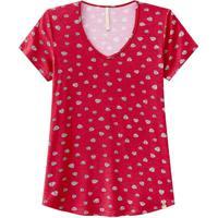 Blusa Estampada Viscose Decote V Vermelho