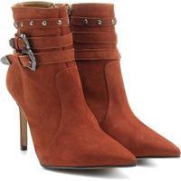 Bota Couro Country Shoestock Bico Fino Feminina - Feminino-Caramelo