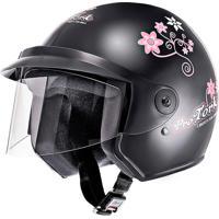Capacete Moto Liberty Three Floral Tamanho 58 Preto Pro Tork