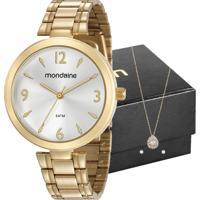 Kit Relógio Mondaine Feminino Com Colar E Brincos 53609Lpmvde1K1