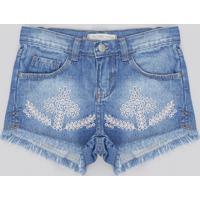 Short Jeans Infantil Com Bordado E Barra Desfiada Azul Médio