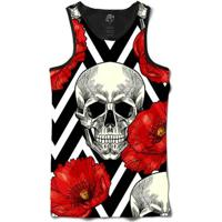 Camiseta Bsc Regata Skull And Roses Full Print - Masculino-Preto
