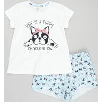"Pijama Infantil ""Love Is A Puppy"" Manga Curta Com Estampa De Bulldog Off White"