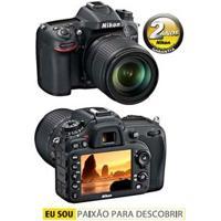 """Câmera Digital Nikon Dslr Vbk360Xu D7100 Preta – 24.1Mp, Lcd 3.2"""", Sensor De Imagem, Cmos Dx, Disparo Contínuo 6Qps E Vídeo Full Hd"""