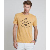 "Camiseta Masculina Adventure"" Listrada Manga Curta Gola Careca Mostarda"""