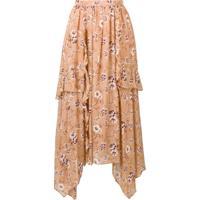 Ulla Johnson Floral Print Asymmetric Skirt - Marrom