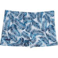 Sunga Boxer Infantil Mash Estampada Folhagem - Masculino-Azul Claro
