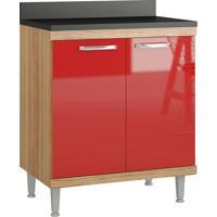Balcão Para Cooktop 2 Portas C/ Tampo Sicília - Multimóveis - Argila / Vermelho