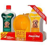 Kit Shampoo Powerdog Sortido 500Ml E Condicionador Powerdog Sortido 500Ml E Ganhe Comedouro Cores Sortidas 350Ml
