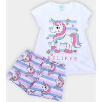 Pijama Infantil Kyly Brilha No Escuro Proteção Anti-Mosquito - Feminino-Branco