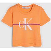 Blusa Calvin Klein Kids Infantil Logo Laranja