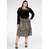 Blusa Plus Size Preta Decote Quadrado