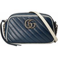 Gucci Bolsa Tiracolo Gg Marmont Matelassê - Azul
