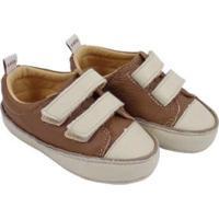 Tênis Infantil Couro Catz Calçados Noody Velcro - Unissex-Marrom+Branco