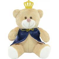 Urso De Pelúcia Softtoys Príncipe Coroa Com Capa Azul