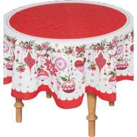 Toalha De Mesa Karsten Natal Janela Decorada 178Cm Vermelha/Branca