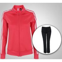 Agasalho Adidas Kn Ts 1 - Feminino - Rosa Esc/Preto