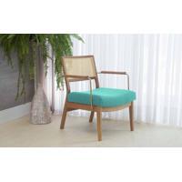 Poltrona De Madeira E Palhinha Decorativa Lavanda - Aço Dourado Verniz Amendoa Tec.950 Azul Turquesa 63,5X64X78 Cm