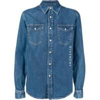 Givenchy Camisa Jeans Com Logo Bordado - Azul