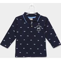 Camisa Polo Infantil Milon Manga Longa Meia Malha Masculina - Masculino