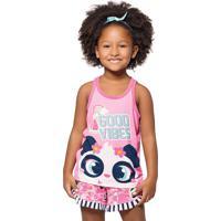 Pijama Regata E Shorts Puket Panda Rosa