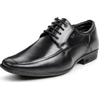 Sapato Social Couro Mestiço Calprado Cadarço Masculino - Masculino-Preto