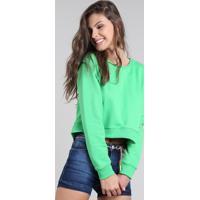 Blusão Feminino Cropped Em Moletom Verde Neon