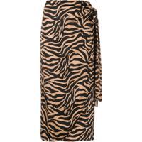 Andamane Saia Midi De Cetim Drapeada Com Estampa De Zebra - Marrom