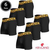 Cuecas Boxer Kevland - Kit Com 6 Peças Microfibra Preta Elástico Dourado Preto
