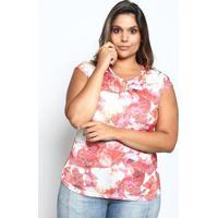 Blusa Com Vazado- Branca & Vermelha- Mirasulmirasul