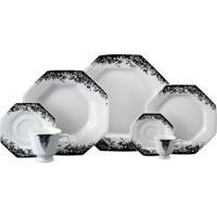 Aparelho De Jantar E Chá Porcelana Schmidt 30 Peças - Dec. Pixel