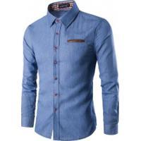 Camisa Jeans Slim Fit Forro Xadrez - Azul Clara