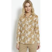 Camisa Floral Com Bordado - Off White & Bege - Dudaldudalina