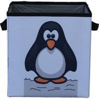 Caixa Organizadora De Brinquedos Organibox Pinguim Branca/Preta - Branco - Dafiti
